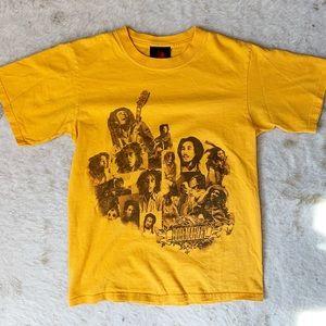 Zion Rootswear Bob Marley Yellow Graphic Band Tee